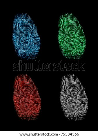 Finger prints isolated on a black background - stock photo