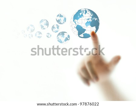 Finger pushing blue wire globe icon - stock photo