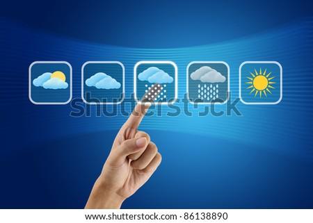 finger pushing Weather icon - stock photo