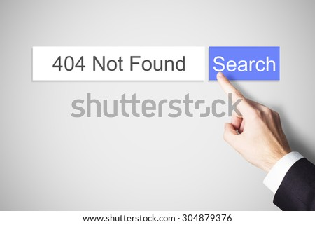 finger pushing web search button 404 not found error message - stock photo