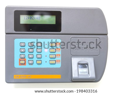 finger scan and card reader unit isolate on white background - stock photo