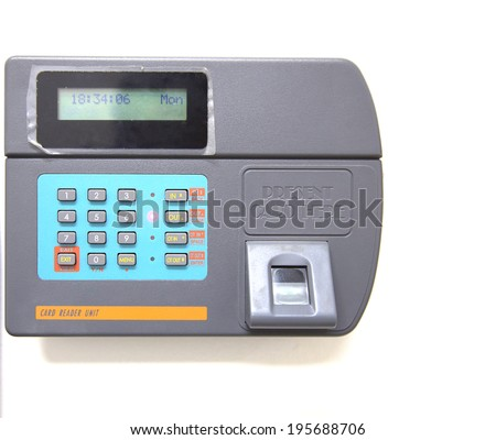 finger scan isolate for time attendance and security - stock photo