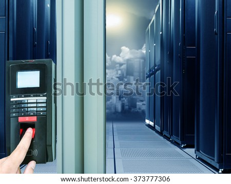 Finger scan security for entry server room - stock photo