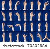 Finger spelling of alphabet in sign language, on blue background - stock photo