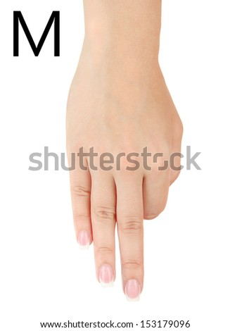 Finger Spelling the Alphabet in American Sign Language (ASL). Letter M - stock photo