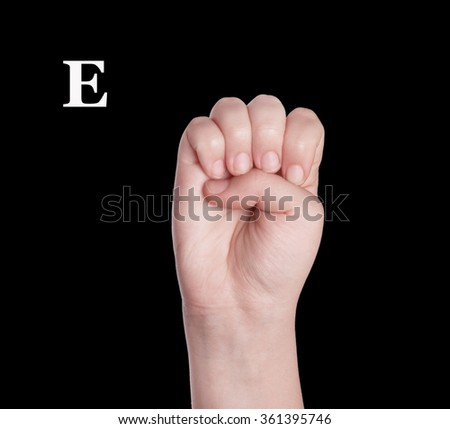 Finger Spelling the Alphabet in American Sign Language (ASL). The Letter E - stock photo