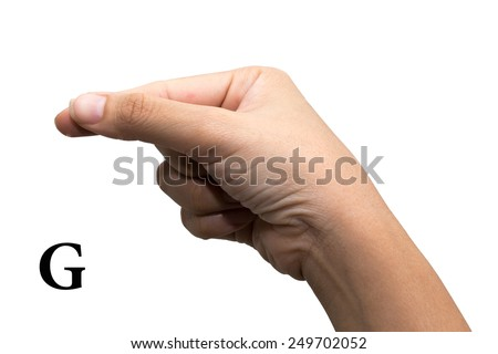 Finger Spelling the Alphabet in American Sign Language (ASL). The Letter G - stock photo