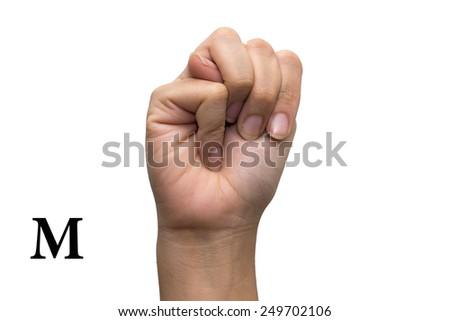Finger Spelling the Alphabet in American Sign Language (ASL). The Letter M - stock photo