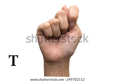 Finger Spelling the Alphabet in American Sign Language (ASL). The Letter T - stock photo