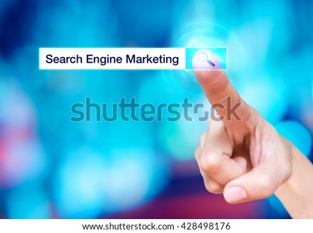 Finger touch on search button with search bar and Search engine marketing word at blur blue background,Digital business concept - stock photo