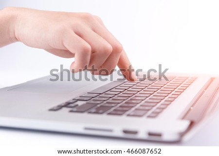 Finger touch the computer