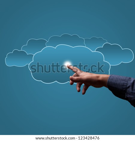 finger touches the clouds, the concept of cloud computing, place for text - stock photo