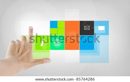 finger touching program application - stock photo