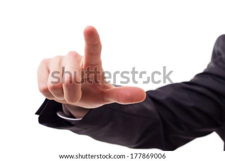 Finger touching virtual screen  - stock photo