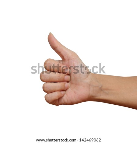 Finger up with hand on the like concept isolated over white background - stock photo