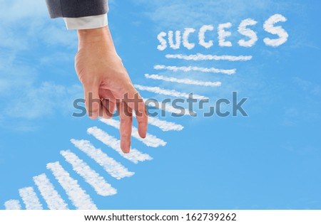finger walking upstairs made from cloud to success - stock photo