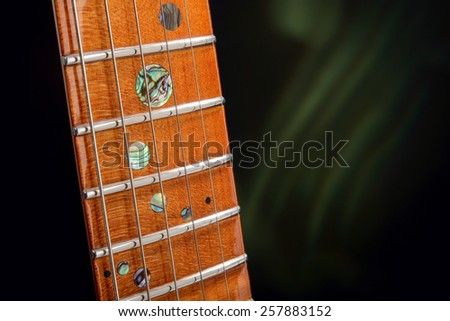 Fingerboard electric guitar close-up - stock photo