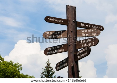 fingerpost in Harz, Germany - stock photo