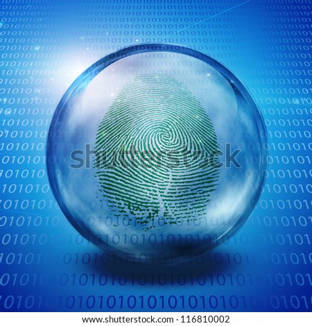 Fingerprint and binary code - stock photo