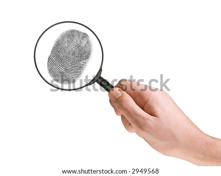 Fingerprint and magnifying glass in hand, isolated on white - stock photo