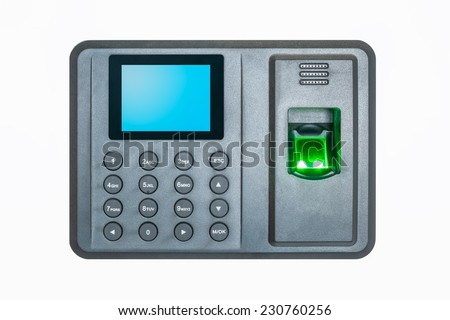 fingerprint attendance machine on a white background  - stock photo