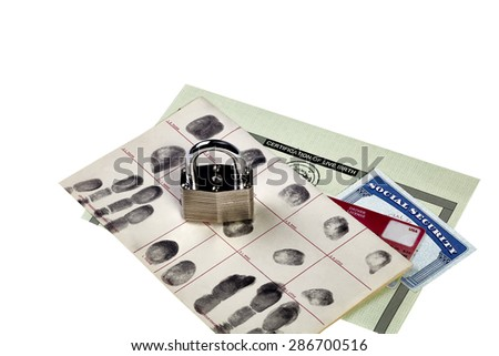 Fingerprint card, driver's license, social security card and birth certificate with locked padlock isolated on white - stock photo