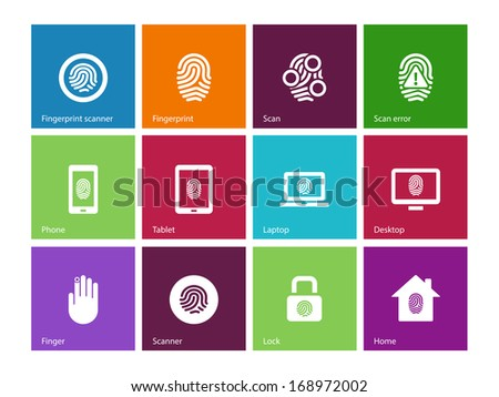 Fingerprint icons on color background. See also vector version. - stock photo