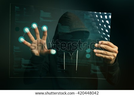 Fingerprint identification app on futuristic tablet computer device, hooded computer hacker accessing biometric security internet system. - stock photo