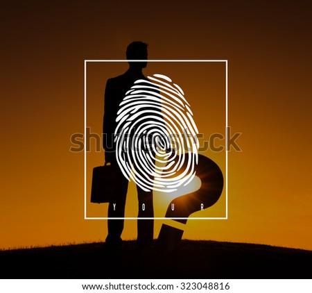 Fingerprint Identification Individuality Investigation Concept - stock photo