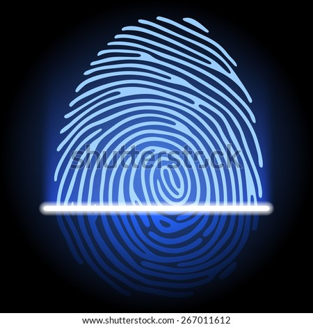 fingerprint identification system - stock photo