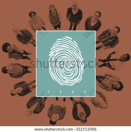 Fingerprint Identity Scanner Protection Verification Concept - stock photo