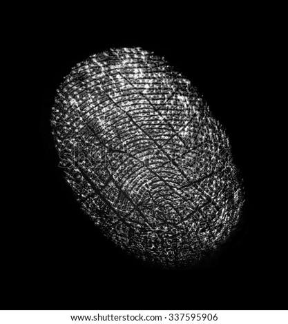 fingerprint on a black background                      - stock photo