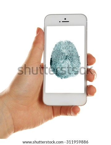 Fingerprint  on screen of smartphone. Mobile security concept - stock photo