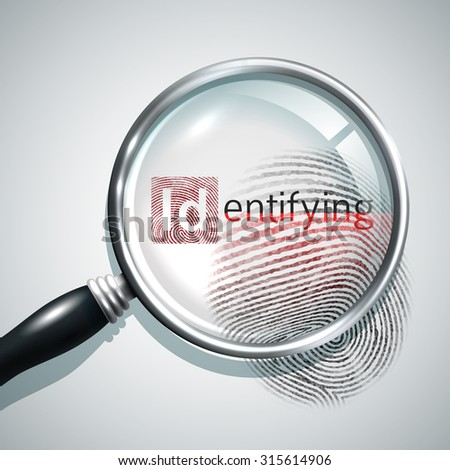 Fingerprint search concept with realistic magnifier glass person identifying concept  illustration