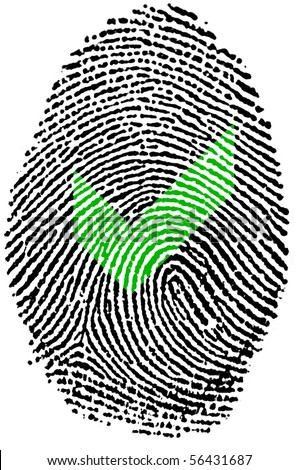 Fingerprint stamp on white paper for accepted action - stock photo