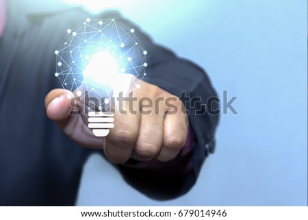 Fingerprint touch Network looks like a light bulb. idea concept of boundless communication