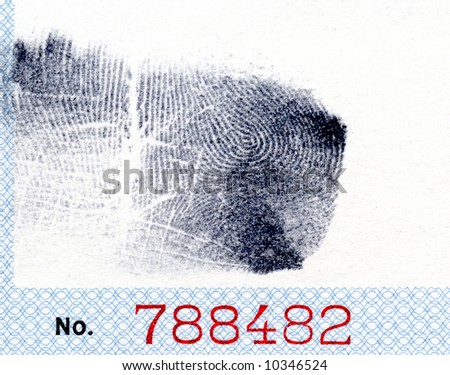 Fingerprint with number - stock photo
