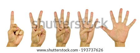 Fingers and numbers on white background. - stock photo