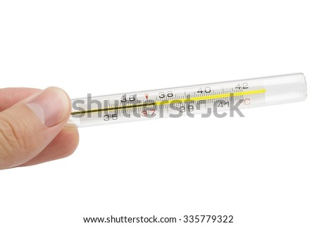 Fingers holding thermometer with abnormall temperature. Isolated on white with clipping path - stock photo