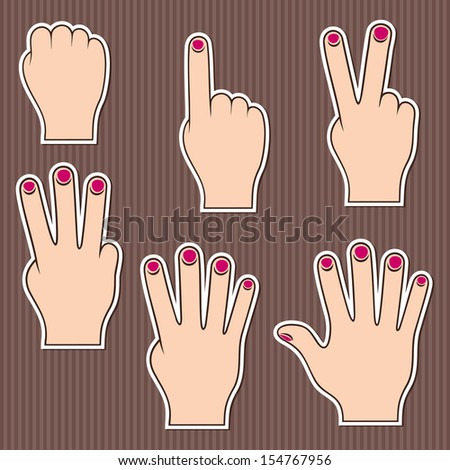 Fingers show numbers. Set of stickers on a brown striped background. EPS version is available as ID 152265926. - stock photo
