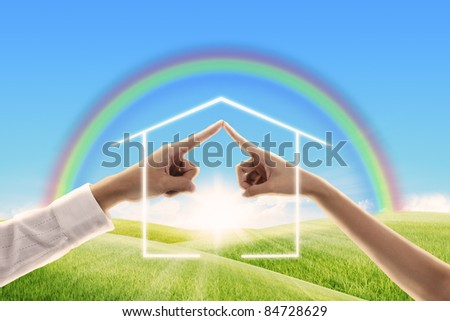fingers touching together made the form of house ,family concept - stock photo