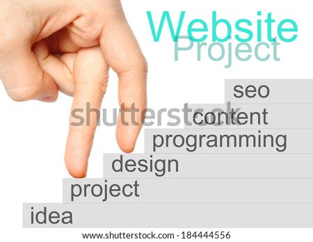 Fingers walking upstairs of website project's development steps.   - stock photo