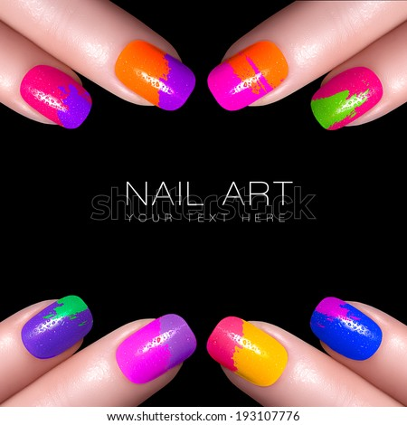 Fingers with colorful nail polish and drops of water. Manicure and makeup concept. Closeup image isolated on black with sample text - stock photo