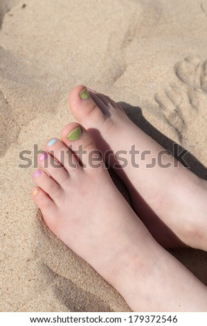 Fingers with pedicure - stock photo
