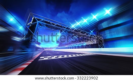 finish gate on racetrack stadium and spotlights in motion blur, racing sport digital background illustration - stock photo