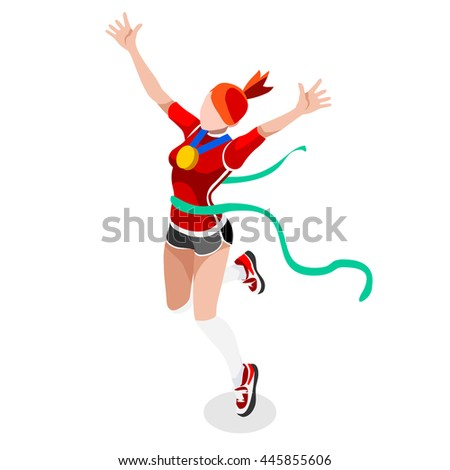 Finish Line Running Woman Athletics 2016 Summer Games Icon.Win Concept.3D Isometric Win Runner Athlete.Sport of Athletic Sporting Competition.Sport Infographic Track Field olympics Illustration - stock photo