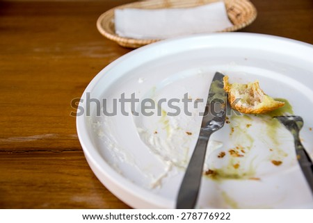 finish plate of honey toast with green tea ice cream and whipped cream - stock photo