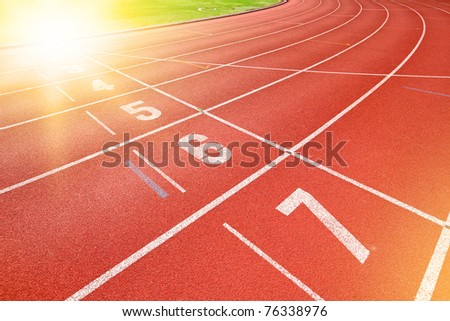 finish point of running track - stock photo