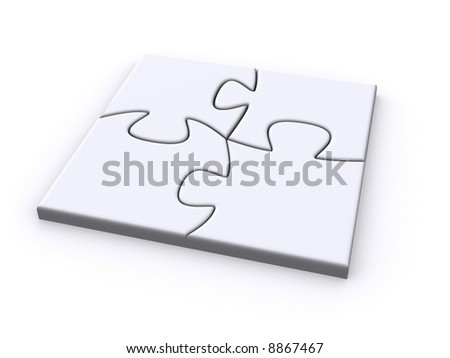 finished square puzzle - stock photo
