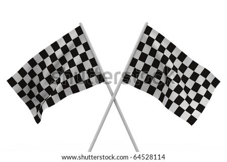 finishing checkered flag on white background. Isolated 3D image - stock photo